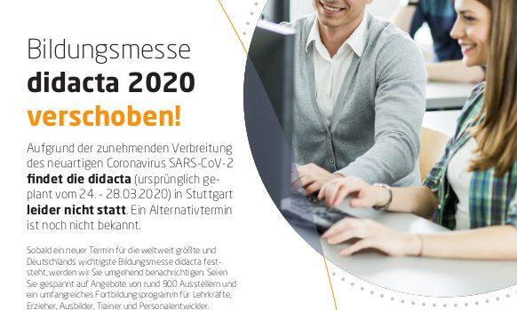 Bildungsmesse didacta 2020 verschoben!